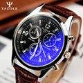 Yazole marca 271 moda de luxo relógios homens de couro pu banda ao vivo à prova d' água esportes de quartzo relógio barato relógio de pulso 2016 novo