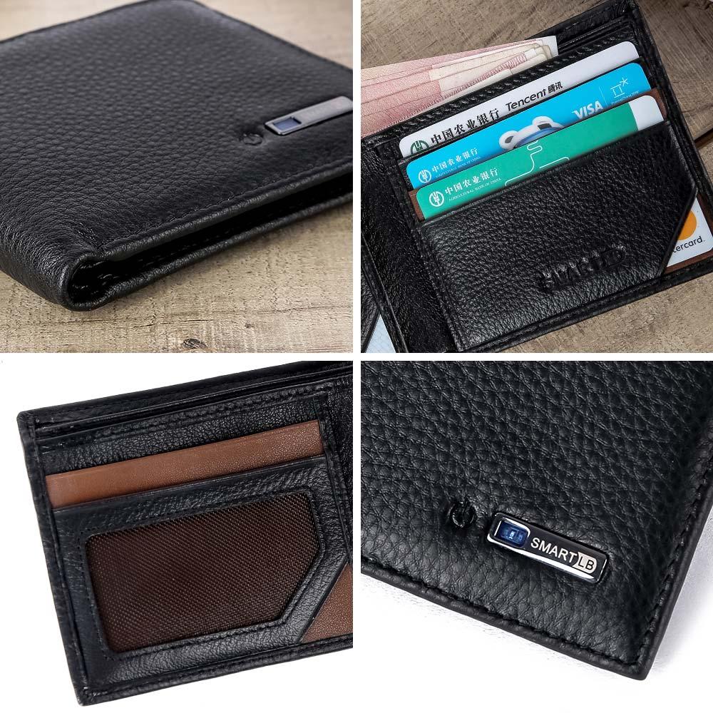 Smart Hommes Portefeuille Rfid en Cuir Véritable Anti perdu intelligent Bluetooth Portefeuilles