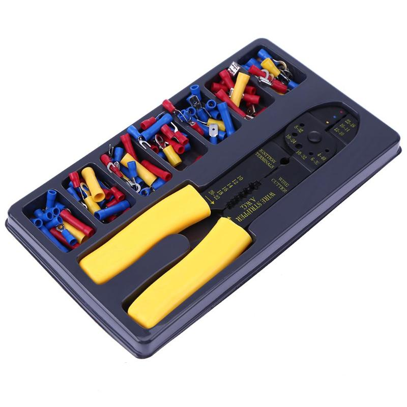 Multi Cable Wire Crimper Ferrule Crimping Pliers Tool + 100Pcs Cold Terminal Connector Adapter Terminal Wire Connector newacalox multifunction self adjustable terminal tool kit wire stripper crimping pliers wire crimp screwdriver with tool bag