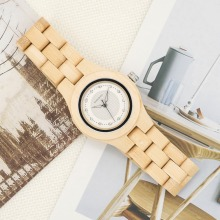 BOBO BIRD Natural Bamboo Ladies Watches Top Brand Design Clocks CO10 for Women in Box Can Laser Logo on the Back Case