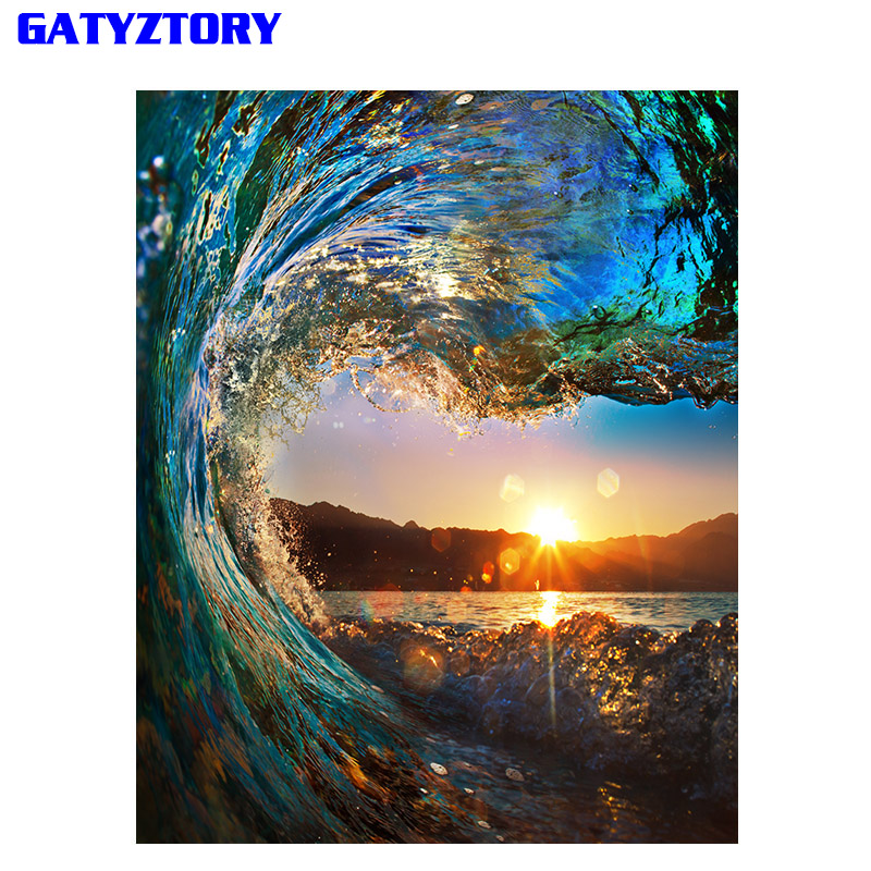 Frameless Sunset Wave Diy Painting By Numbers Landscape Modern Wall Calligraphy Painting Acrylic Paint For Home Decor 40x50cm живопись diy digital painting diy 30 40