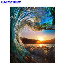 Frameless Sunset Wave Diy Painting By Numbers Landscape Modern Wall Calligraphy Painting Acrylic Paint For Home Decor 40x50cm