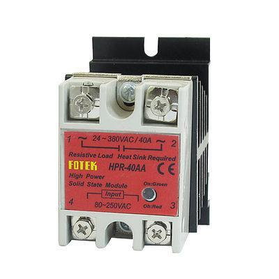 Solid State Relay HPR-40AA 40A 80-250V 24-380V AC w Aluminum Heat Sink
