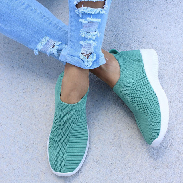 Women's Sneakers Shoes Flat Knitting Autumn Plus Size 2019 New Female Mesh Vulcanized Ladies Slip On Breathable Casual