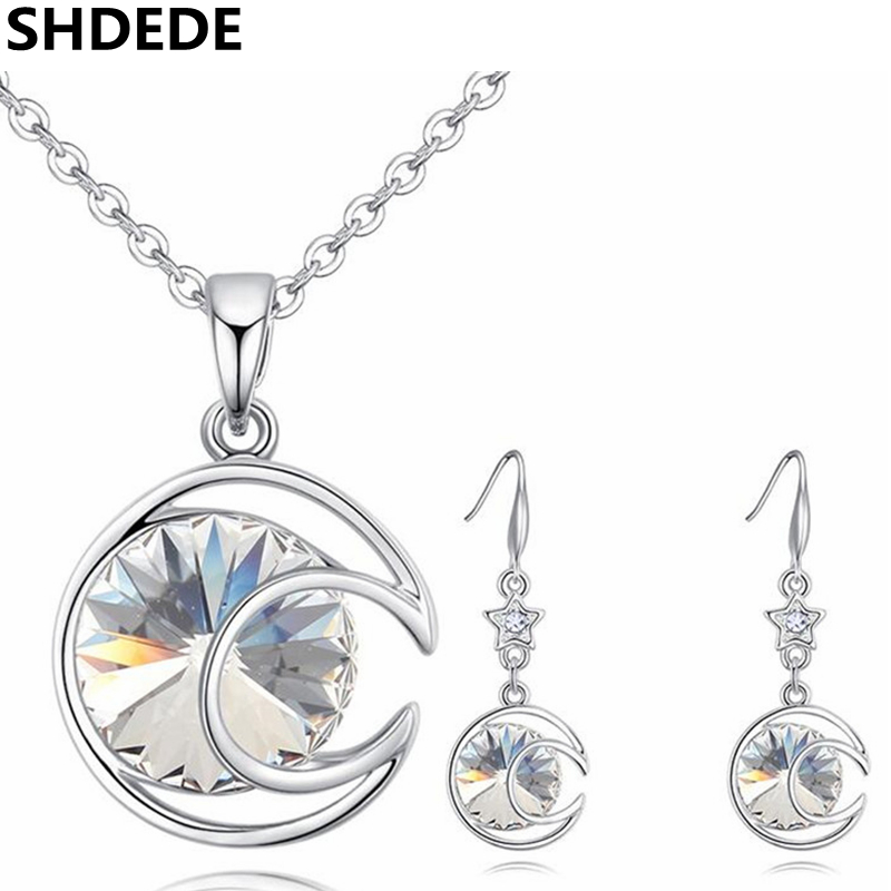 SHDEDE Moon Pendant Necklace Earrings Jewelry Set Crystal from Swarovski High Quality Fashion Accessories Party Gift -26497 shdede многоцветный