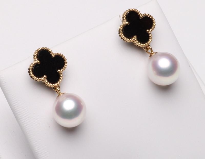 Black Onyx Solid925 Sterling Silver Leaf Clover Flower 18K Gold Pendant Necklace