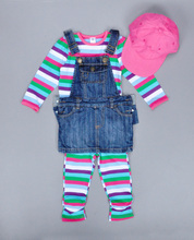2016 осень девочка детская одежда мода набор полосой топы + брюки + ремень Джинсовая юбка + бейсболка набор бренды девушки набор одежды