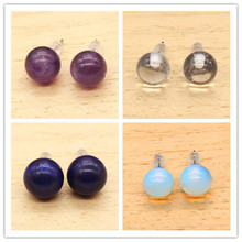 Kraft-beads Silver Plated Amethysts Stone Round Beads Stud Earrings Rock Crystal Ethnic Jewelry