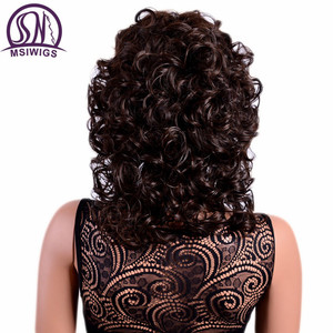 Image 3 - MSIWIGS 女性茶色のカーリー前髪耐熱アフロ中オンブルのかつら女性