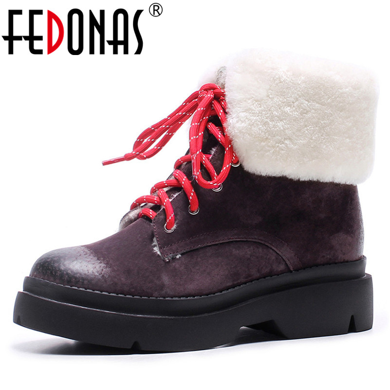 FEDONAS 2019 Women Winter Snow Boots Lace Up Warm Short Martin Shoes Woman High Heels Round Toe Motorcycle Boots Basic Boots fedonas new warm autumn winter snow shoes woman high heels zipper short martin boots retro punk motorcycle boots 2019 new shoes