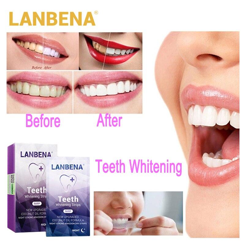Zahnaufhellung Professioneller Verkauf Lanbena Zahnweiß-streifen Für Nacht Mundhygiene Zähne Veneers Weiß Streifen Entfernt Plaque Flecken Einfach Tragen 7 Paare/schachtel