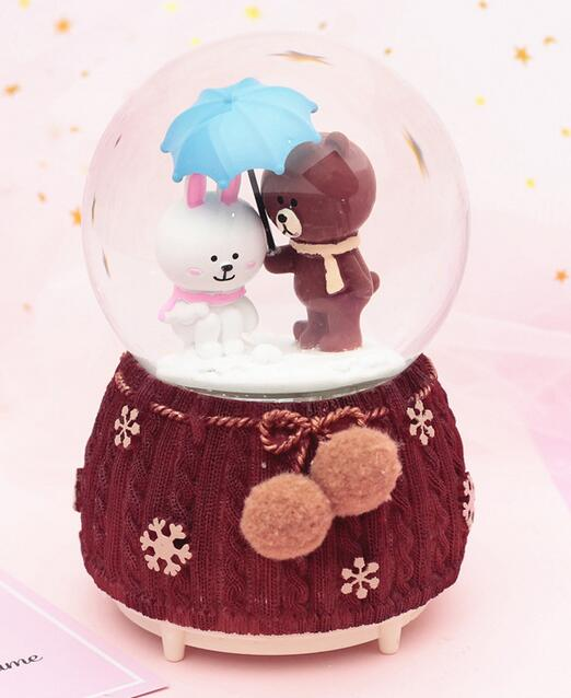 Gift umbrella play small coffee bear crystal ball music box set pieces floating snow with lamp water ball musicculpture statue