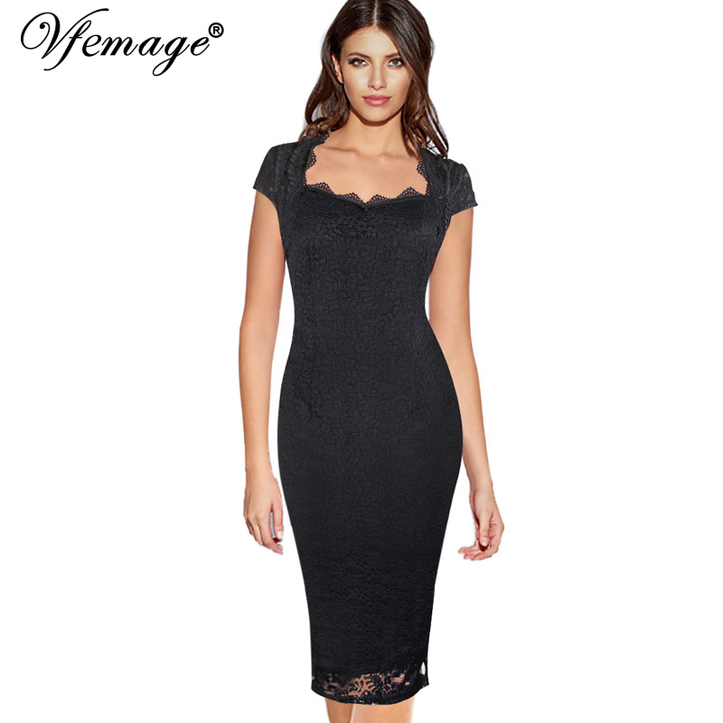 d083b1a3261 Vfemage Womens Elegant See Through Floral Lace Embroidery Wear to Work  Business Cocktail Party Bodycon Pencil Sheath Dress 10046-in Dresses from  Women s ...