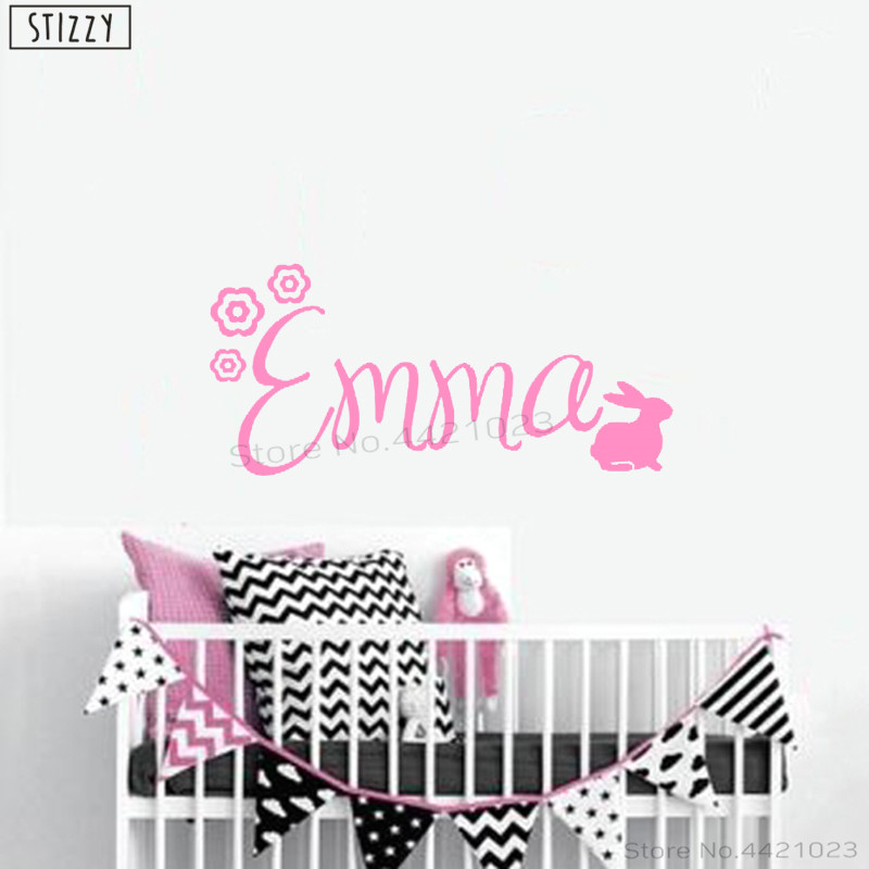 US $2.12 29% OFF|STIZZY Wall Decal Flowers Bunny Personalized Name Vinyl  Wall Stickers Girls Bedroom Custom Nursery Room Decor Cartoon AnimalC388-in  ...