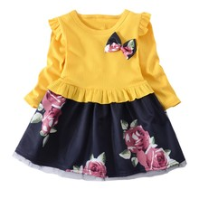 Spring Girls Dress Cotton Splicing Flower Printed Childrens Long Sleeve for Baby