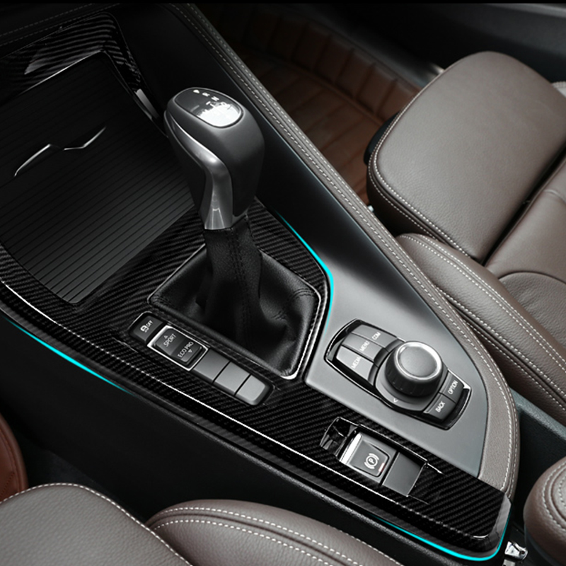 Carbon fiber For BMW X1 F48 2016 2017 ABS Chrome Center Console Decoration Frame Cover Trim Car Accessories for left hand driver 2pcs for bmw x1 f48 2016 17 abs matt chrome rear back net frame cover trim auto parts for bmw 2 series 218i f45 f46 car styling