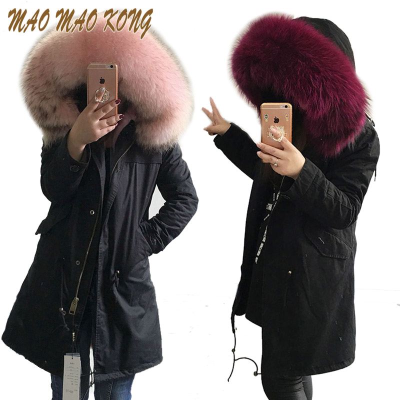 2017 new fashion women luxurious Large raccoon fur collar hooded coat warm faux fur liner parkas long winter jacket top quality