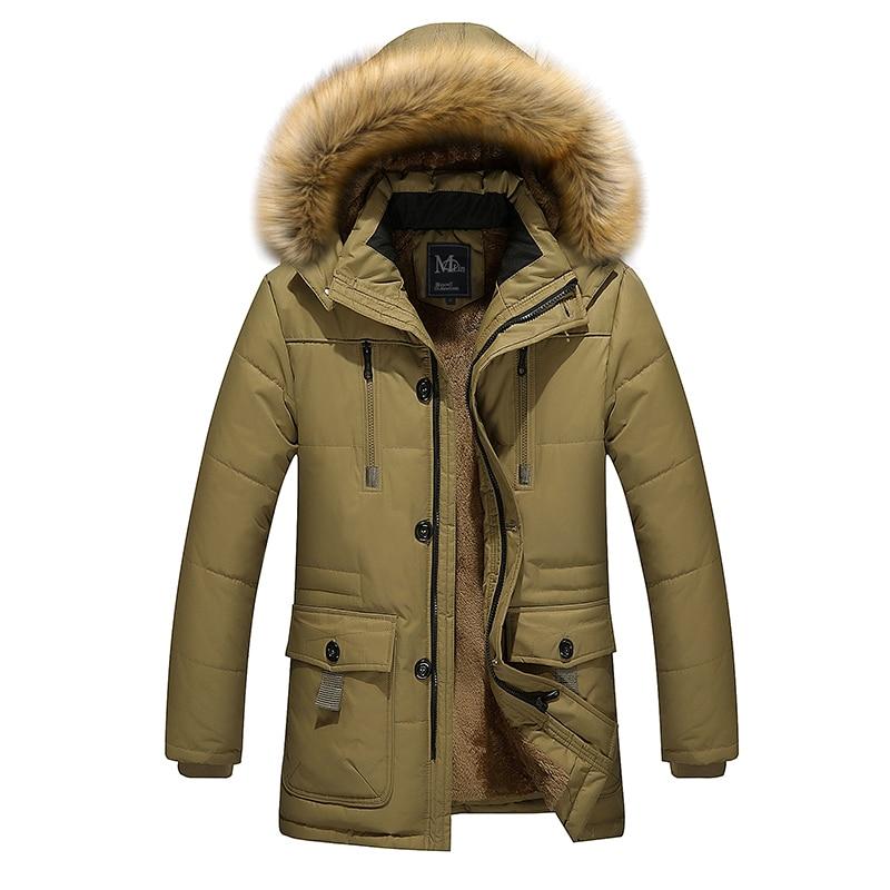 2016 autumn winter warm velvet lining material long cotton jacket men s clothing Dad Coats Jackets