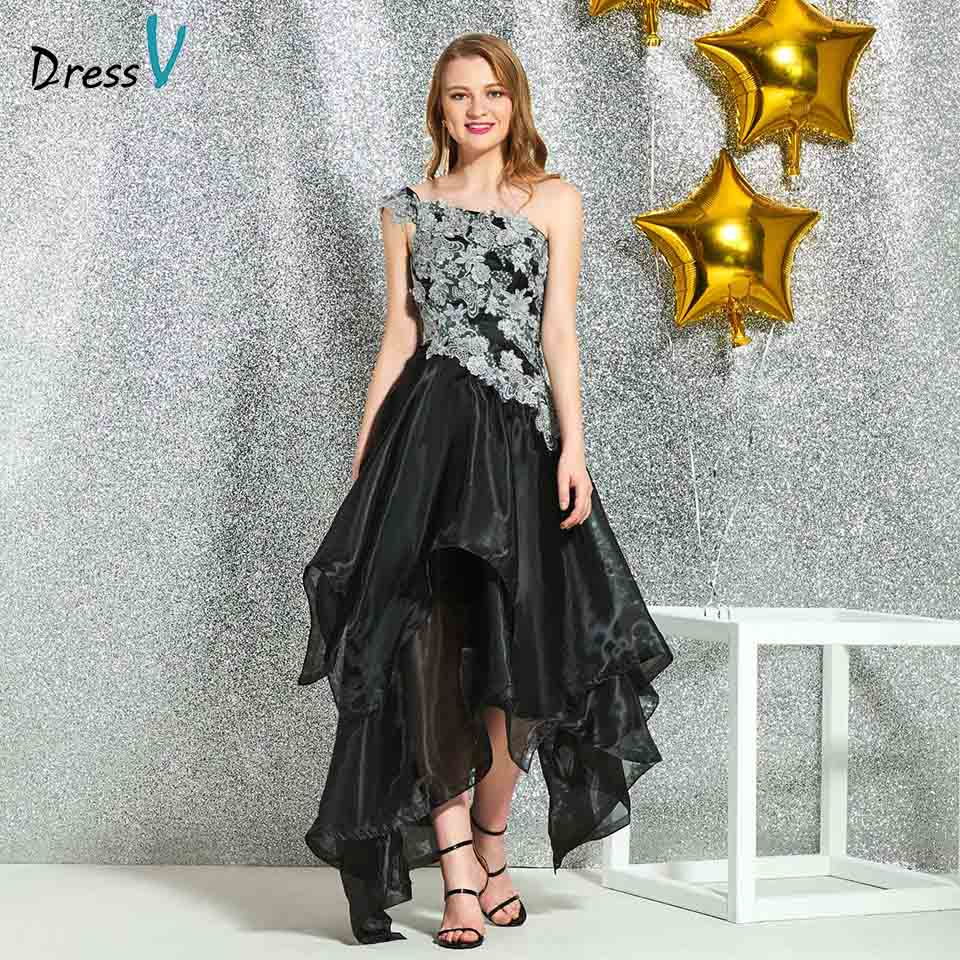 Dressv black one shoulder   cocktail   elegant appliques a line tea length wedding party formal   dress   tulle   cocktail     dresses