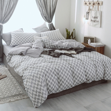 Hongbo Simple Pattern Double Duvet Cover Gift For Home Cotton Stripe Lattice Leaves Geometric Bedclothes