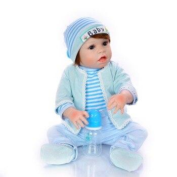 23 Inch Bebes Reborn boy Doll Full Silicone Vinyl reborn baby dolls Realistic Princess bebe toys for kids gift