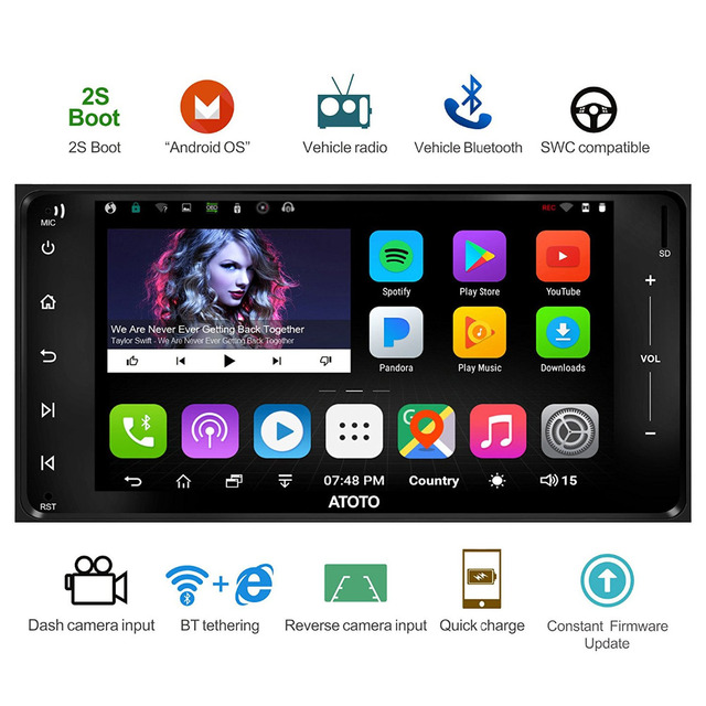 US $209 0 |ATOTO A6 Double Din Android Car GPS Stereo/for Toyota & Subaru/  Dual Bluetooth/A6YTY721P 2G+32G/Quick Charge/Indash Radio/WiFi-in Vehicle