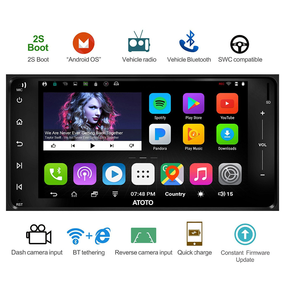 ATOTO A6 Double Din Android Voiture GPS Stéréo/pour Toyota et Subaru/Double Bluetooth/A6YTY721P 2g + 32g/Charge Rapide/Indash Radio/WiFi