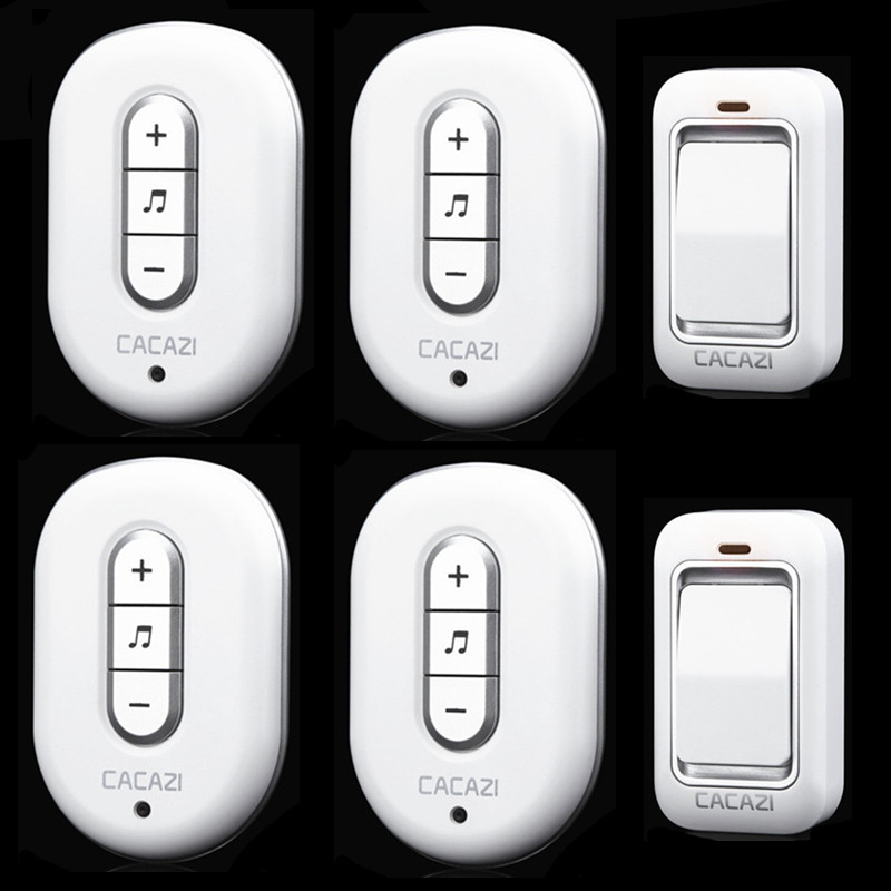 ФОТО 2 doorbell buttons+4 doorbell receivers 100M remote control AC 110-240V Waterproof button need batteryWireless doorbell