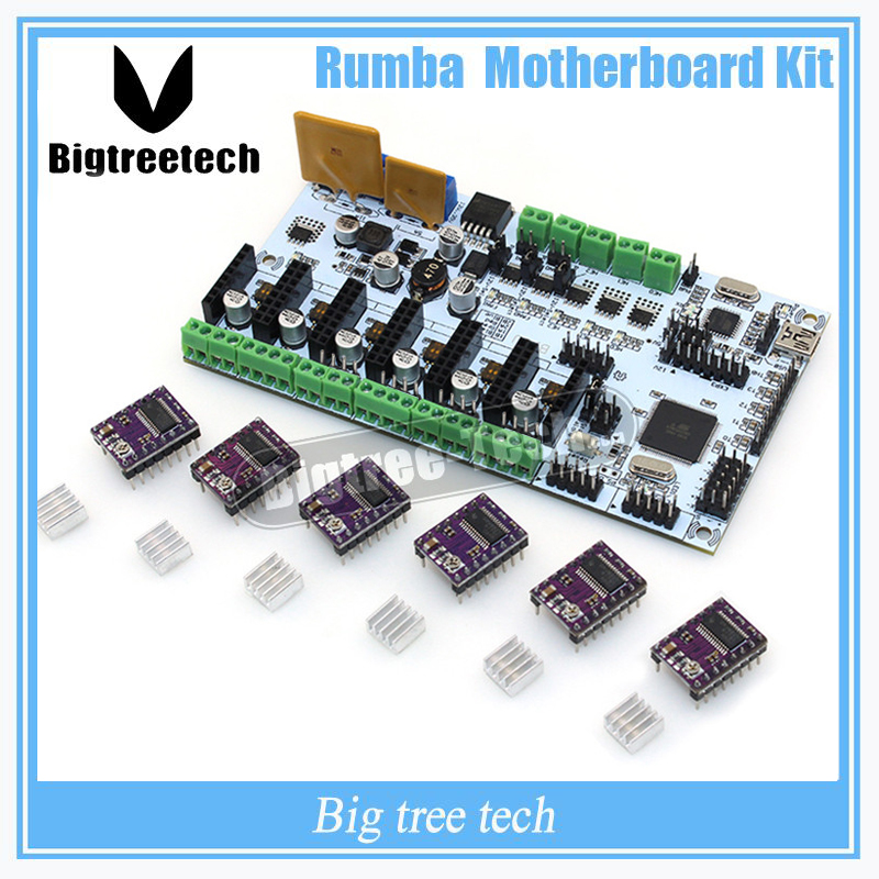 BIQU Rumba For 3D Printer Start Kits Mother Board Rumba Board With 6pcs DRV8825 Stepper Driver &6pcs Heatsink with free shipping flsun 3d printer big pulley kossel 3d printer with one roll filament sd card fast shipping