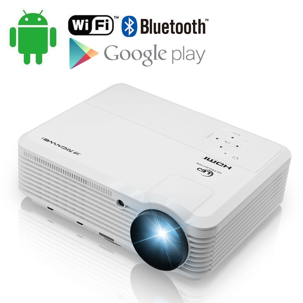 CAIWEI LED Android Wifi Bluetooth Projector Home Theater HDMI VGA USB AV Full HD Beamer 1080p Multimedia Movie Video Proyector mini led projector bl 18 proyector portable pico projektor 500lumen full hd projectors av vga sd usb hdmi video beamer projetor