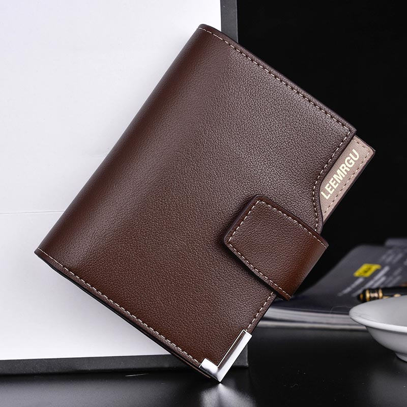PU Wallet Men Short Hasp Casual Black Zipper Coin Purses Male Credit Card Holder Wallets WF 668