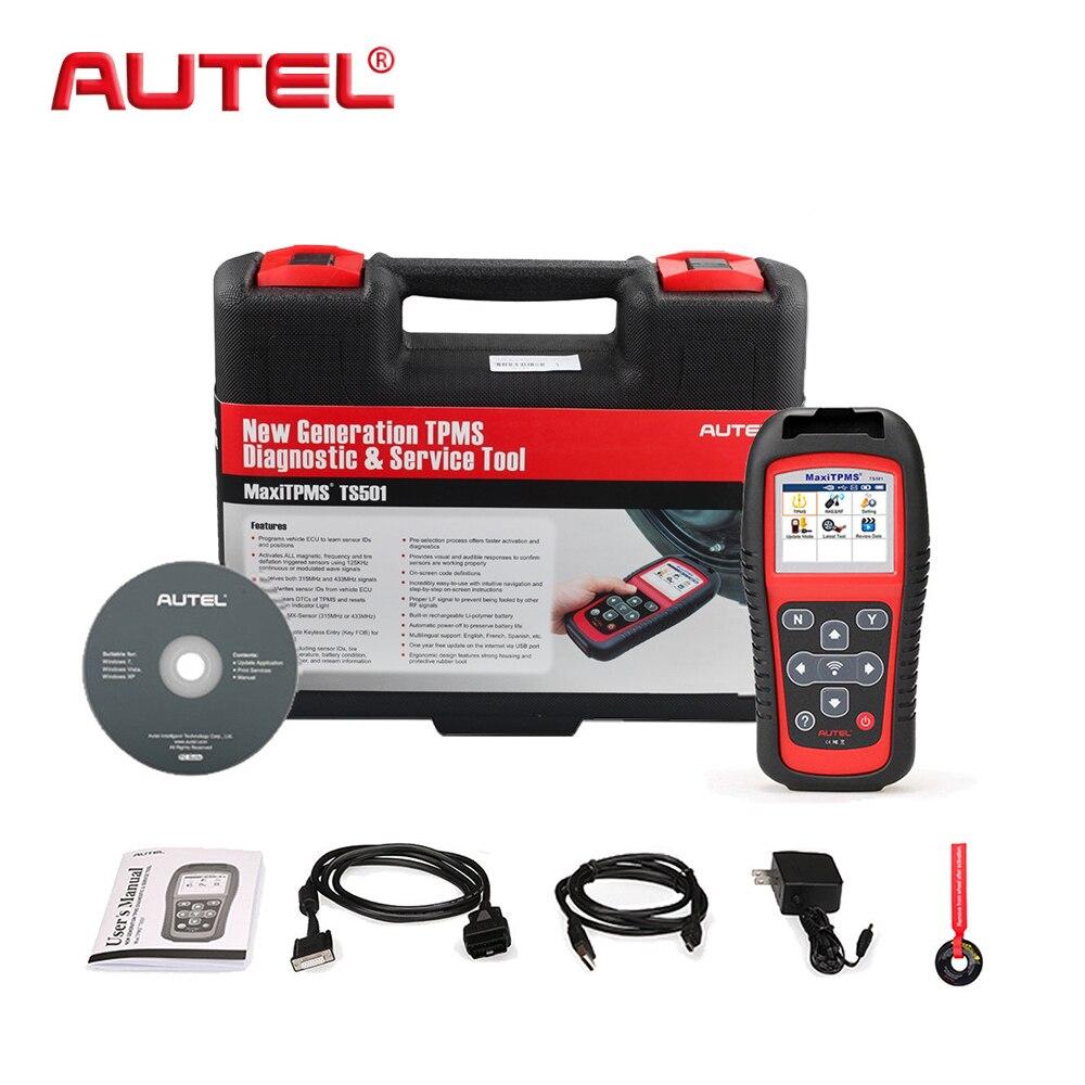 AUTEL датчик давления в шинах, датчики, ИНСТРУМЕНТ MaxiTPMS TS501 TPMS, диагностический инструмент, инструмент для автоматического сканирования, OBD2, Автомобильный сканер, переучивание