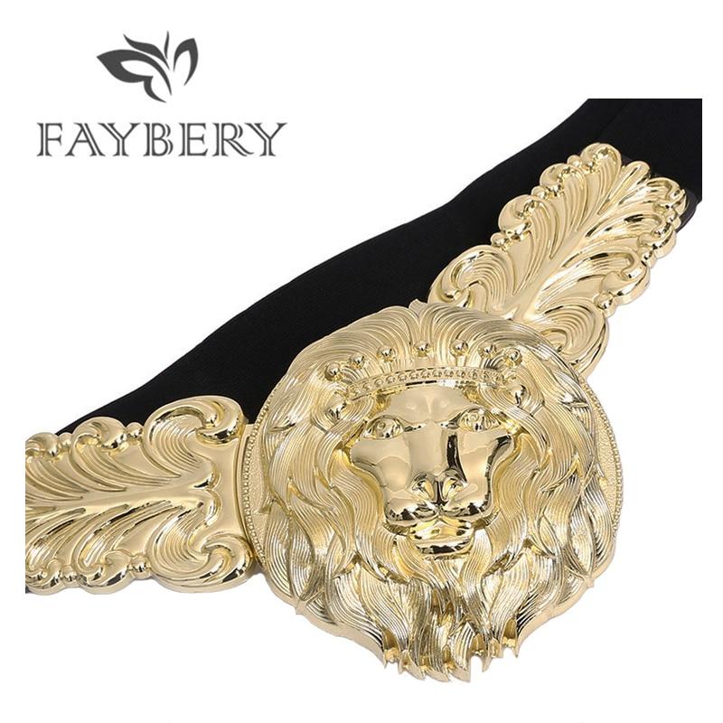 Golden Lion Buckle Waist Belts for Women Luxury Brand Elastic Belt for Dress Fashion Women 39 s Metal Wide Waistband for Ladies in Women 39 s Belts from Apparel Accessories