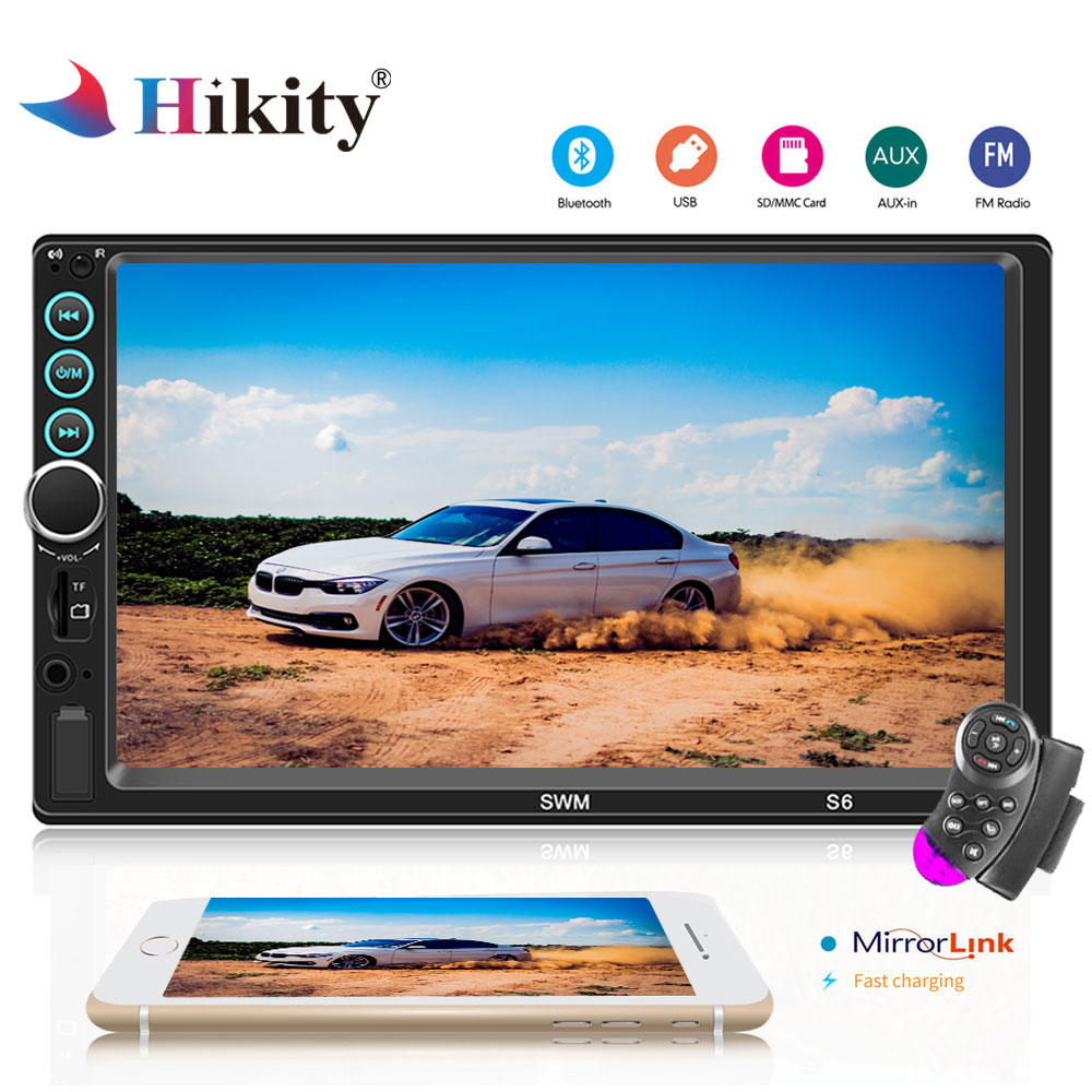 Hikity 7'' Touch Screen Car Radio 2 Din Auto audio Player Stereo Bluetooth MP5 Support Rear View Camera autoradio+steering wheel hikity 7010b 2 din car radio 7 hd touch screen mp5 multimedia player bluetooth mirrorlink audio stereo support rear view cam