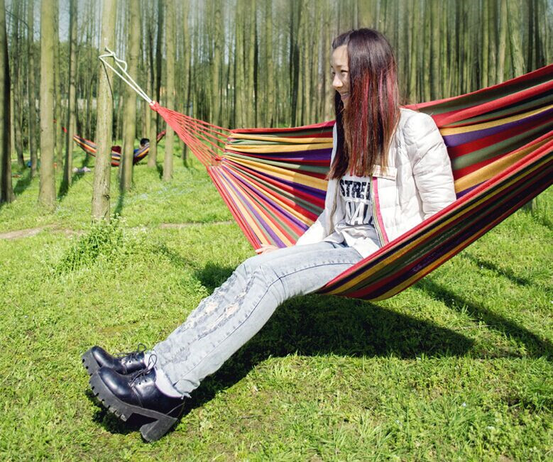 200*80cm Outdoor Portable individual rainbow hammock camping Parachute cloth Dormitory canopy colour Canvas Stripe swing hammock 2 people portable parachute hammock outdoor survival camping hammocks garden leisure travel double hanging swing 2 6m 1 4m 3m 2m