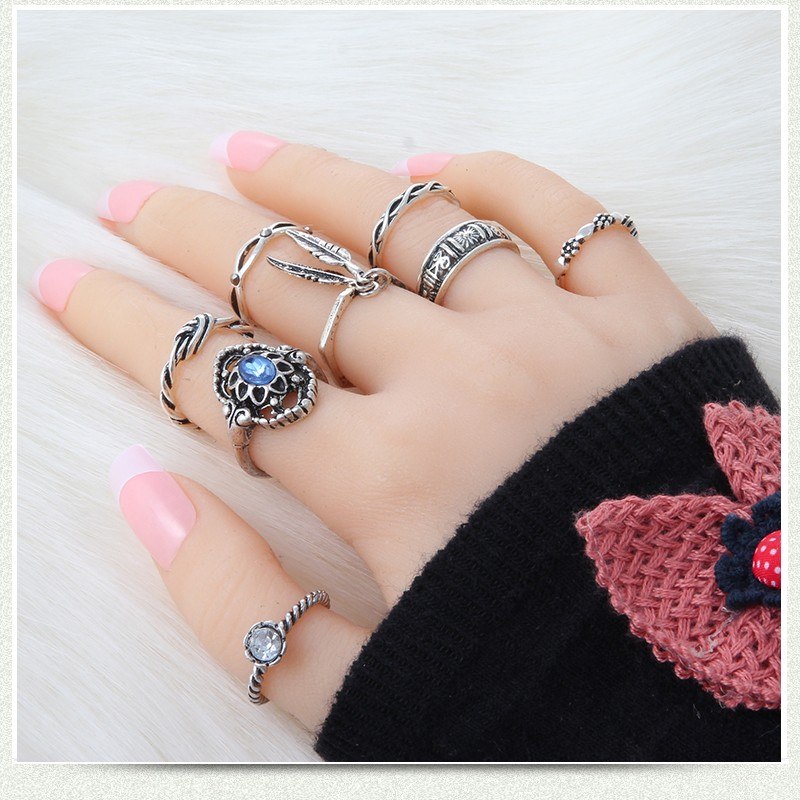 8pcs set Bohemian Vintage Leaf Rings Set Women Antique Silver Gold Plated Knuckle Rings for Women