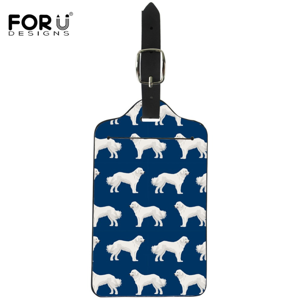 FORUDESIGNS Great Pyrenees Printed Suitcase Luggage Tags Cute Travel ID Address Holder Label Tag Baggage Boarding Portablegif