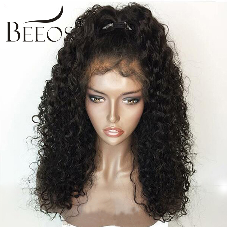 BEEOS 150% Glueless Lace Front Human Hair Wigs Pre Plucked With Baby Hair Remy Peruvian Kinky Curly Wigs For Women