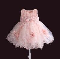 Платье для маленькой девочки розовый цветок рукавов бальный наряд нарядные платья принцесс для девочек Крещение 1 год Платья для маленьких ...