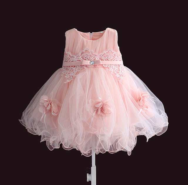 74dde3a1c5ac baby girl dress pink flower sleeveless ball gown princess wedding ...