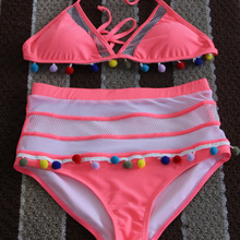 High Waist Women Bikini Striped Lace Rusmayo