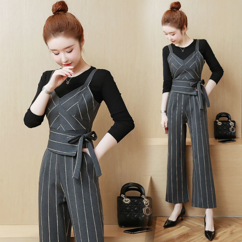 YICIYA Women outfits tracksuit sportswear Striped top and bib pants suits 2 piece set co-ord set OL Office 2019 bodycon clothing 1