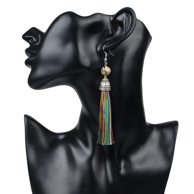 Long Howlite Tassel Earrings
