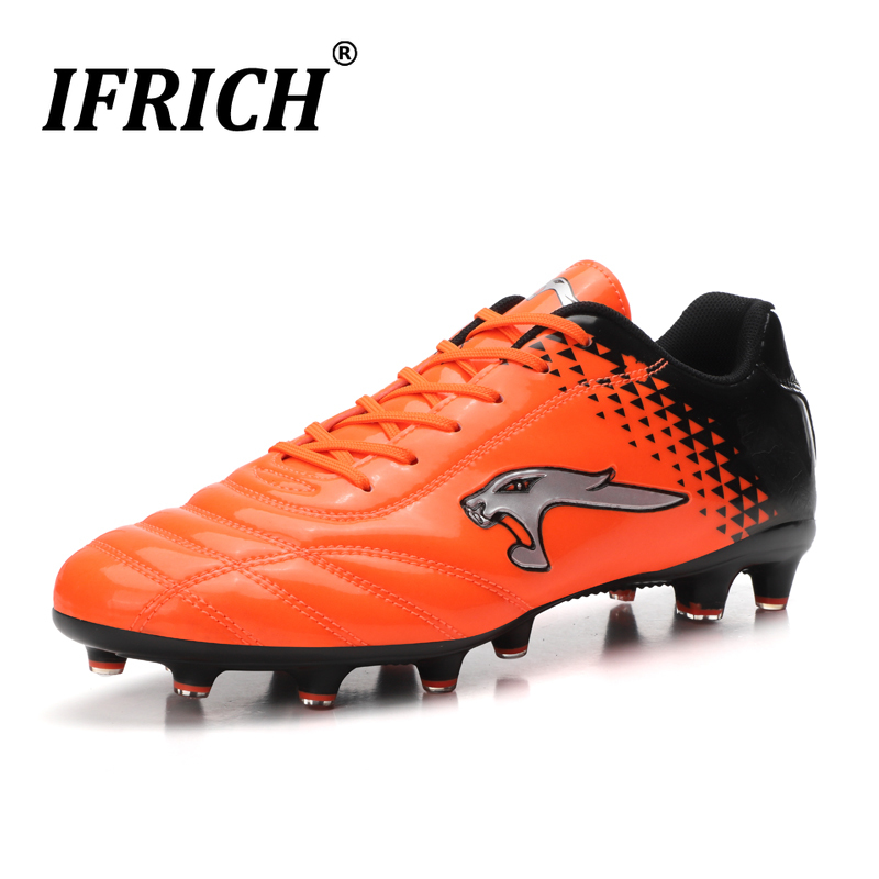 Ifrich 2019 Man Sports Outdoor Football Shoes Low Ankle Soccer Cleats Black Orange Athletic Shoes Men Brand Spike Soccer Shoes