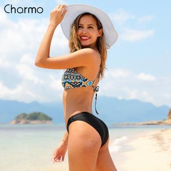 Charmo Women Bikini Set Vintage Floral Print Swimwear Strappy Swimsuit Bathing Suit Padded Beachwear halter-neck vest padded strappy tied bikini set