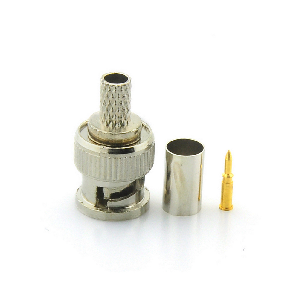 цена на BNC Male 3 in 1 Crimp Connector for RG59 Coaxial Cable Coupler Adaptor