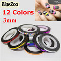 BlueZoo 1 Pc 3mm New Nail Rolls Striping Tape Line Metallic Nail Art Roll Strip Nails DIY Beauty Decorations 12 Color For Choice