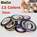 BlueZoo 1 Unid 3mm Nueva Nail Rollos Trazado de Líneas de Cinta Metálica Rollo de Tira de Clavos del Arte del clavo DIY Decoraciones de Belleza 12 Color Para elección