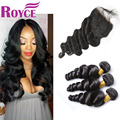 Peruvian Virgin Hair Loose Wave With Closure 7A Unprocessed Human Hair Weave 4 Bundles With Lace Closure Loose Wave With Closure