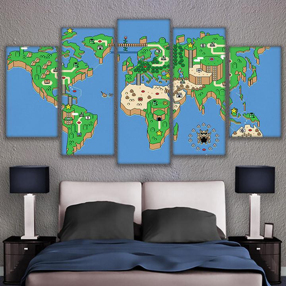 Cartoon Game Super Mario Bros Canvas Art Printing Painting Letters ...